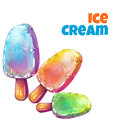 Vector set with tree color ice creams Royalty Free Stock Photo