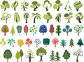 Vector set of trees in different stlye Royalty Free Stock Photo