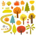 Forest collection vector set of trees. Royalty Free Stock Photo