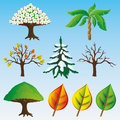 Vector set trees isolated on blue Stock Images