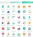 Vector set of trendy flat gradient Ecology and green energy icons.