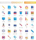 Vector set of trendy flat gradient office stationery icons. Royalty Free Stock Photo