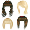 Vector set of trendy hair styling for woman Royalty Free Stock Photo