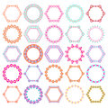 Vector set of tribal colorful round and hexagon decorative frames for design. Aztec ornamental style Royalty Free Stock Photo