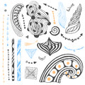 Vector set with tribal doodles. Hand drawn collection in zentangle style. For coloring page or tattoo art