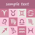 Vector set of twelve simple zodiac symbols horoscope signs on old pink background with copy space Stock Images
