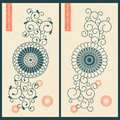 Vector set with two cards with eastern floral ornament. design for business, print, gift