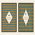 Vector set with two cards with traditional arabic pattern and hand drawn words Ramadan Kareem and a moon