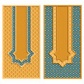 Vector set with two traditional colorful arabic cards with a ribbon with a star form Royalty Free Stock Photo