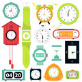 Vector set. Types of alarms clocks Royalty Free Stock Photo