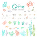 Vector set of underwater sea/ocean design elements. Royalty Free Stock Photo
