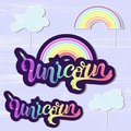 Vector set with Unicorn, Rainbow, Handwritten lettering Unicorn