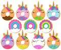 Vector Set of Unicorn and Rainbow Themed Donuts