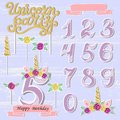 Vector set with Unicorn Tiara, Numbers, Horn, flower. Royalty Free Stock Photo