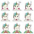 Vector set of unicorns emoticons.