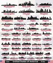 Vector set of United States abstract city skylines silhouettes Royalty Free Stock Photo