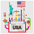 Vector set usa White House Statue of Liberty rugby flat illustration Royalty Free Stock Photo