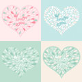 Vector set valentine hearts with text love you romantic illustration Royalty Free Stock Image