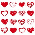 Vector set of Valentine`s Day red hearts on white background