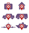 Vector set of various booking icons accommodation and transportation Royalty Free Stock Photo