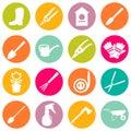 Vector set of various gardening items and garden tools in flat design