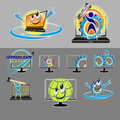 Vector set of various logos, smileys for repair, PC maintenance, laptop Royalty Free Stock Photo