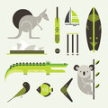 Vector set various stylized australia icons Royalty Free Stock Image