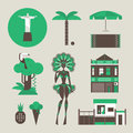 Vector set of various stylized brazilian icons Stock Image
