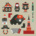 Vector set various stylized russian icons Stock Photos