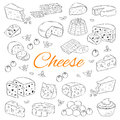 Vector set of various types of cheese, hand drawn illustration on chalkboard background.