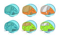 Vector set of vehicle icons bus and train Royalty Free Stock Photo