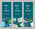 Vector set vertical banners mathematics, geography, drawing school supplies flat