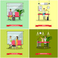 Vector set of veterinary care concept posters, banners, flat style. Royalty Free Stock Photo