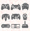 Vector set video game controller silhouettes collection of retro style Stock Photography