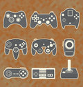 Vector set video game controller silhouettes collection of retro style Royalty Free Stock Photography
