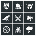 Vector Set of Viking Icons. Warrior, Ship, Ammunition, God, Battle, Weapon, Protection, Burial, Weather. Royalty Free Stock Photo