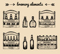 Vector set of vintage brewery elements.Retro collection with beer,lager,ale signs. Sketched boxes or crates with bottles