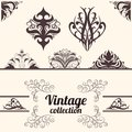 Vector set vintage calligraphic design elements decoration collection geometric shapes Royalty Free Stock Photos