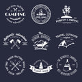 Vector set of vintage camping logos. Retro signs collection of outdoor adventures. Tourist sketches for emblems, badges.