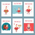 Vector set of vintage Christmas labels, banners with cartoon Santa Claus character, present, tree, hat, sleigh, snowman Royalty Free Stock Photo