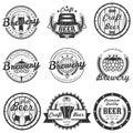 Vector set of vintage craft beer labels, badges and logos