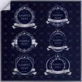 Vector set vintage dark blue frame labels silver elements crown Stock Photo