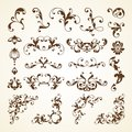 Vector set of vintage decorative ornamental page decoration calligraphic design elements for invitation, pattern, wedding template Royalty Free Stock Photo