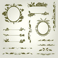 Vector set of vintage design elements with flowers Royalty Free Stock Photography