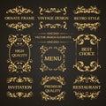 Vector set of vintage elegant decorative ornamental page decoration frames borders calligraphic design elements for invitation, Royalty Free Stock Photo