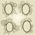 Vector set of vintage frames with flowers - orchid Royalty Free Stock Photo