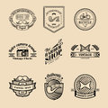Vector set of vintage hipster logo. Retro icons collection of bicycle, moustache, camera etc.