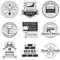 Vector set of vintage home repair labels, badges and logos