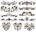 Vector set vintage ornaments, corners, borders. Vintage design elements art nouveau. Black and white monogram