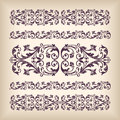 Vector set vintage ornate border frame with retro ornament patte